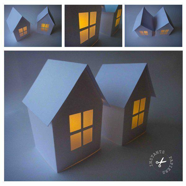 photophore maison en papier instants papiers house. Black Bedroom Furniture Sets. Home Design Ideas
