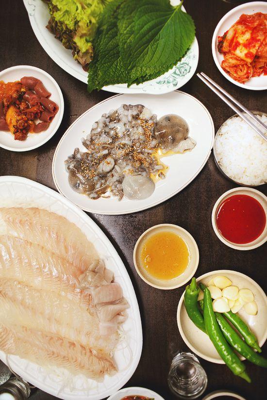 flounder sashimi, sannakji (baby octopus, meongge (sea ...  Baby