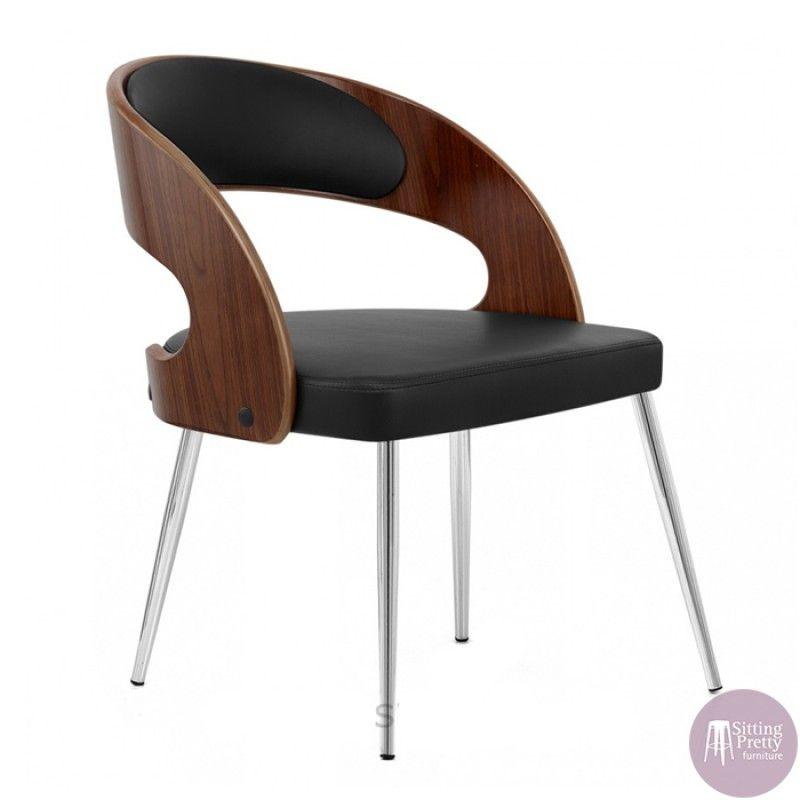 Beau Sitting Pretty Furniture   Gatsby Dining Chair   Walnut/Black   DUE LATE SEP
