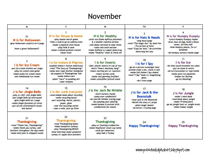 Lesson Plans Preschool Novemberpdf Plansthemes Pinterest