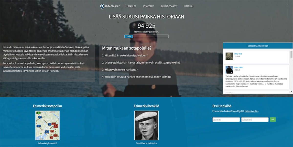 Suomalaiset sodassa -matrikkeli, löydä sukulaisesi.