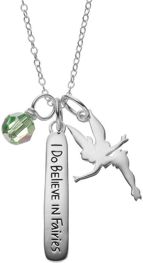 Disneys tinker bell sterling silver charm pendant necklace made disneys tinker bell sterling silver charm pendant necklace made with swarovski elements aloadofball Images