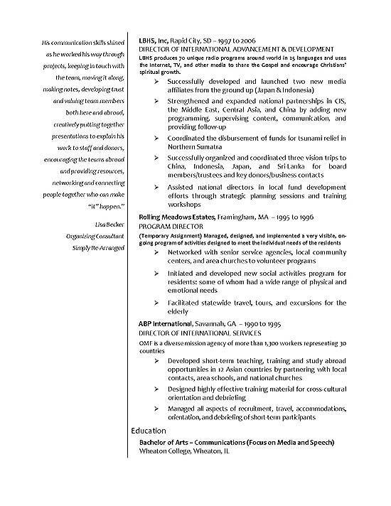 Perfil del aspirante a la Licenciatura en Relaciones Comerciales - international business resume objective