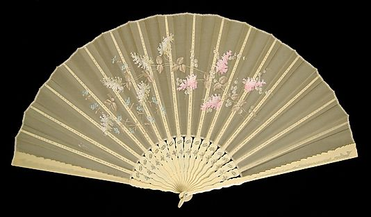 Fan Made Of Ivory, Silk, Mother-Of-Pearl And Synthetic - Japanese    c.1880-1889