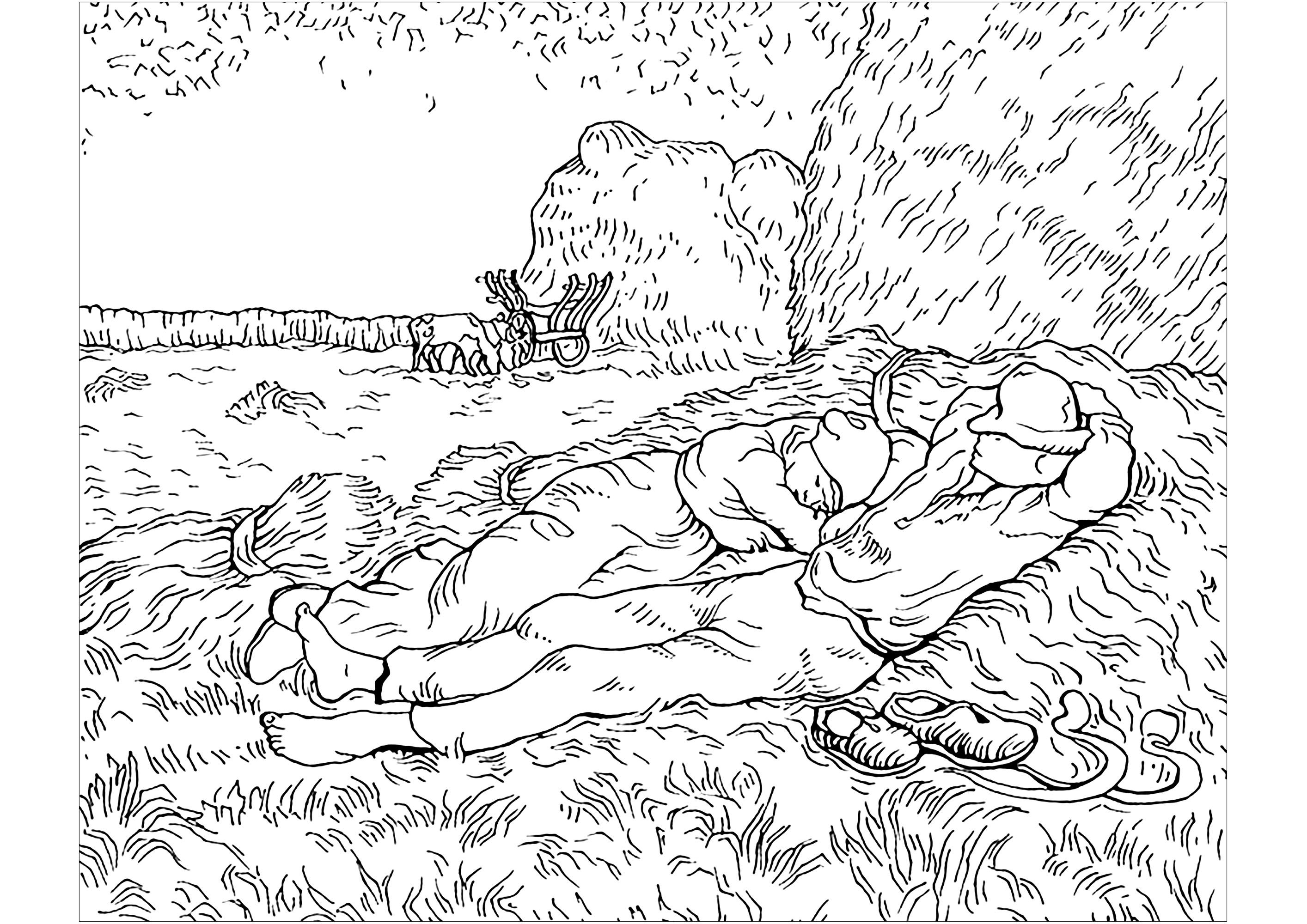 Coloring Page Created From A Painting By Vincent Van Gogh Noon Rest From Work From Millet Van Gogh Coloring Coloring Book Art Van Gogh Drawings