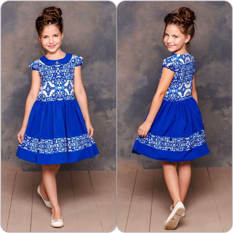 Купить Синее платье для девочки нарядное