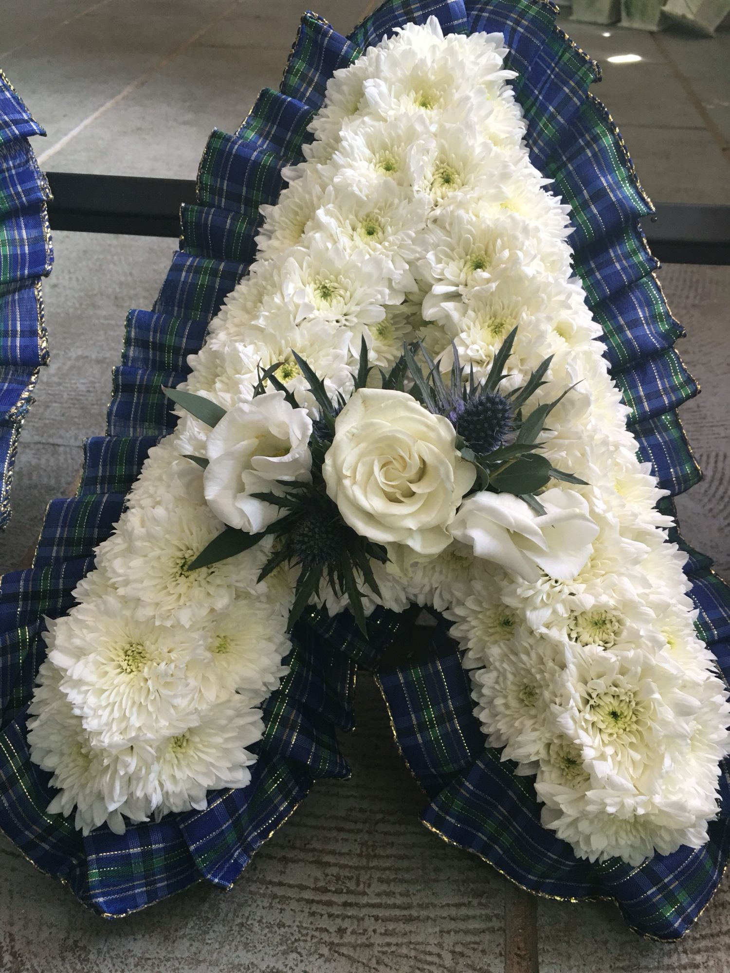 Scottish Style Funeral Flowers Tartan Ribboned Letter Funeral