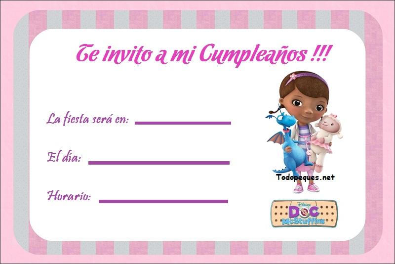 Doctora Juguetes Invitinvitacionaciones Para Imprimir Gratis