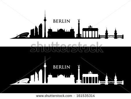 berlin skyline - vector illustration - stock vector   berlin skyline, bilder, silhouette