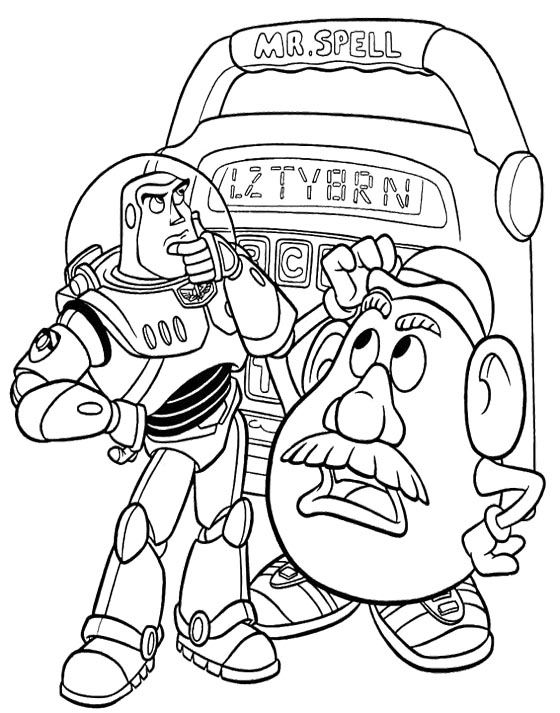 Buzz Lightyear And Mr Potato Head Coloring Page | Drawing Toy Story ...