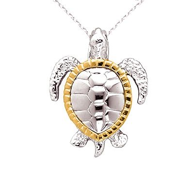 Beautiful Sterling Silver   14k Gold Sea Turtle Necklace made in the U.S.A.  with Free Shipping Everyday! Part of our Sea Turtle Jewelry Collection at  www. 599943dfb665