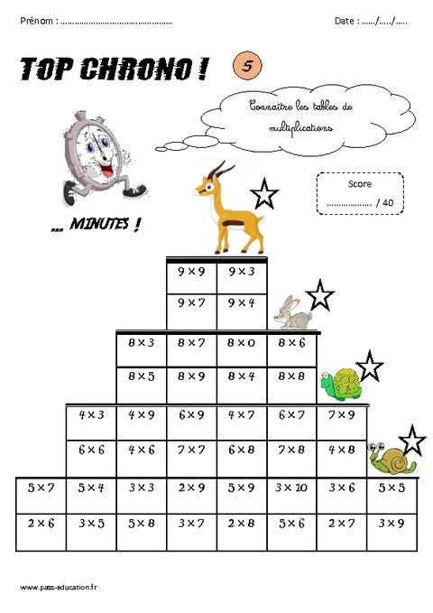 Ce2 calcul mental top chrono rituel pass education - Table de multiplication exercice ce2 ...