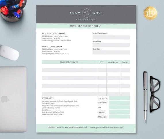 Photographer Invoice Template  Invoice Design  Receipt Template