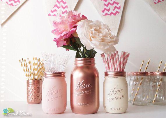 Baby Shower Centerpiece Painted Mason Jars Rose Gold Copper Blush