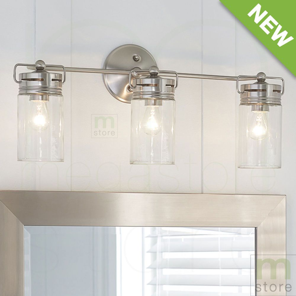 Bathroom Vanity Light Fixture Brushed Nickel Jar Wall Lighting - Kitchen light fixtures brushed nickel