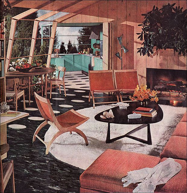 1954 Mid-Century Modern Home Illustration in American Home of Atomic Style living room dining room and turquoise kitchen. This was actually an Armstrong Linoleum advertisement. i love how modern the black linoleum floors are with the white oval spots. Vintage-inspired Swedish MCM  chairs table.
