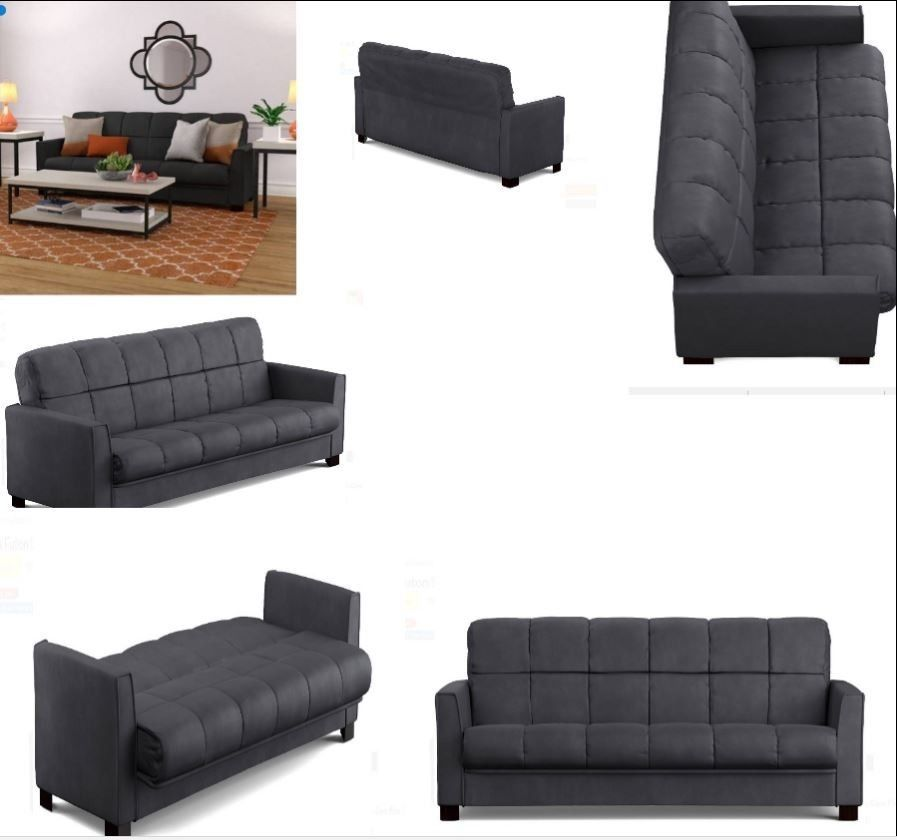 Microfiber Futon Sofa Sleeper Bed Full Bed Convertible Couch