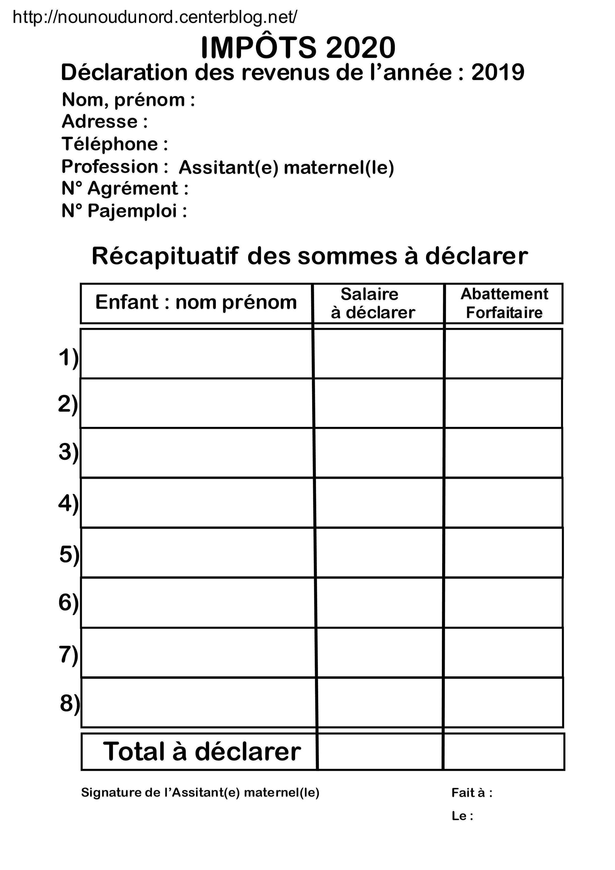 Impots 2020 Tableaux De Declaration Des Revenus 2019 Impot