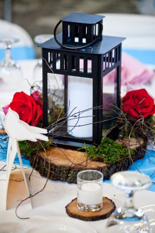 Wood Lantern Centerpiece : Love this set up red roses piece of natural wood black