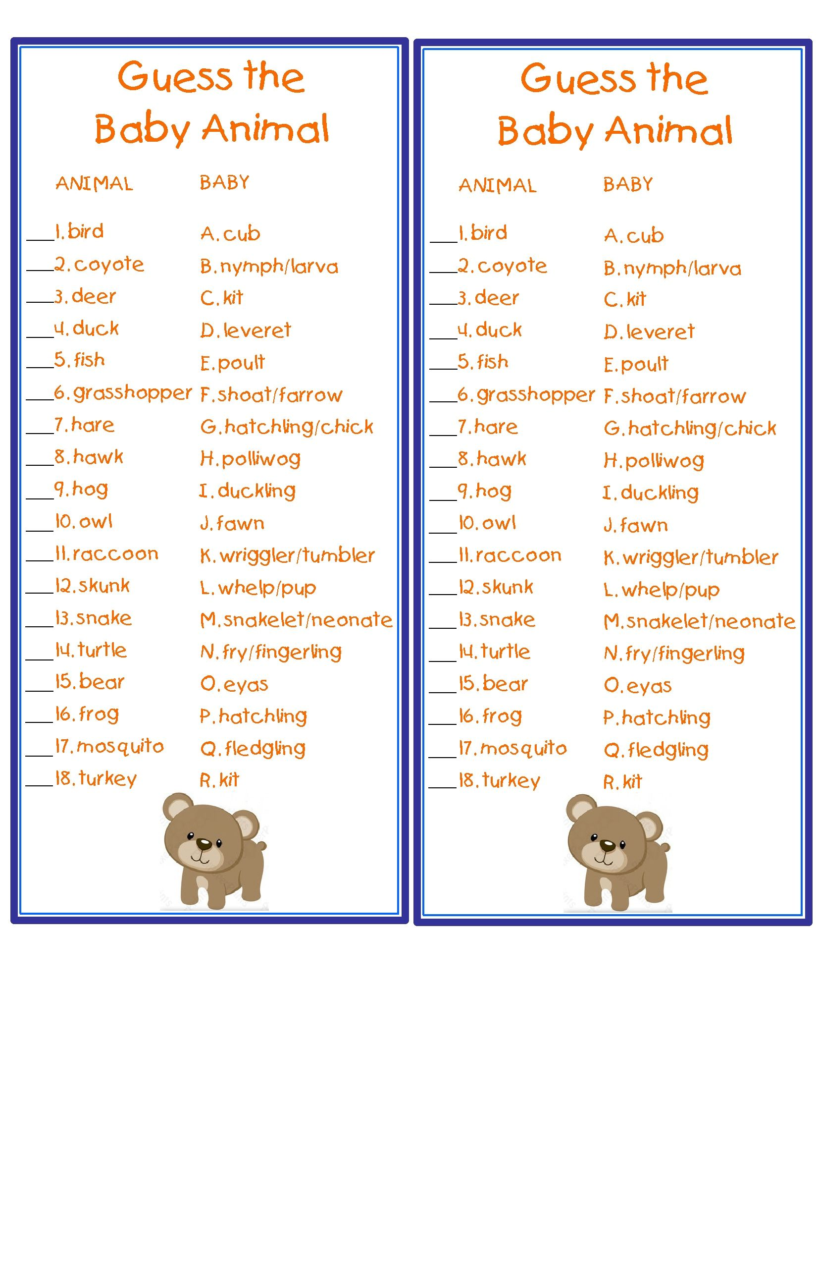 Guess The Baby Animal Game For Baby Shower Woodland Themed