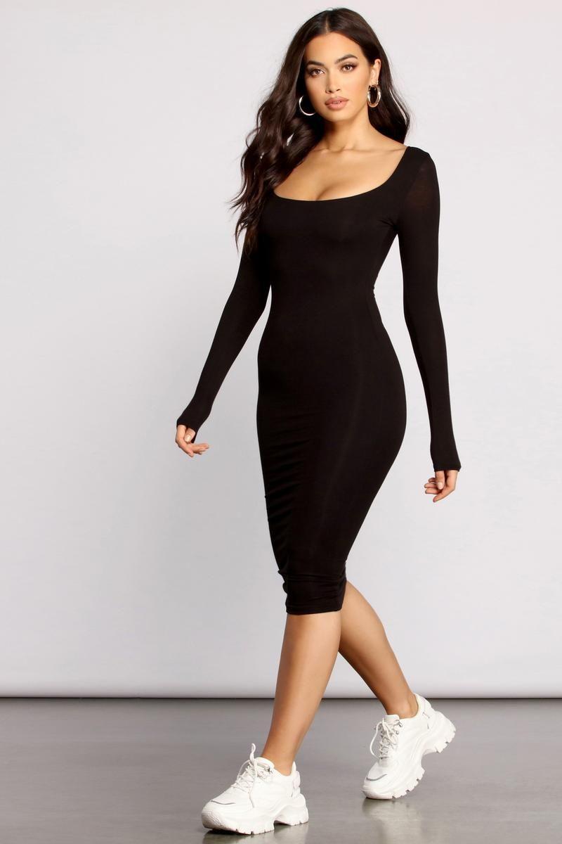 Lovin Knit Basic Midi Dress Basic Midi Dress Casual Dress Outfits Fancy Midi Dresses [ 1200 x 800 Pixel ]
