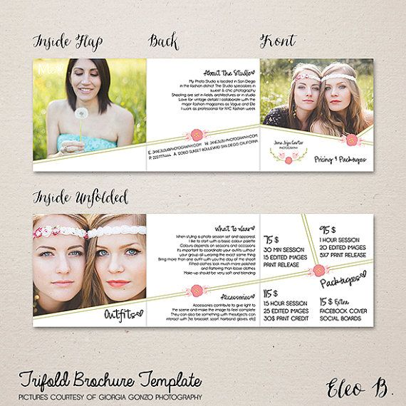 Trifold brochure template photography package pricing items similar to trifold brochure template photography package pricing photographer price list package photoshop template m031 instant download saigontimesfo