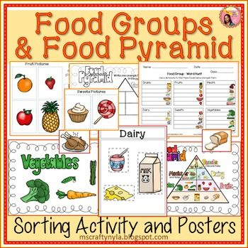 food groups sorting activity worksheets and posters with food pyramid