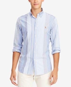 9a2e6f5add5 Polo Ralph Lauren Men s Classic Fit Plaid Oxford Shirt - Woodbridge Stripe  XL