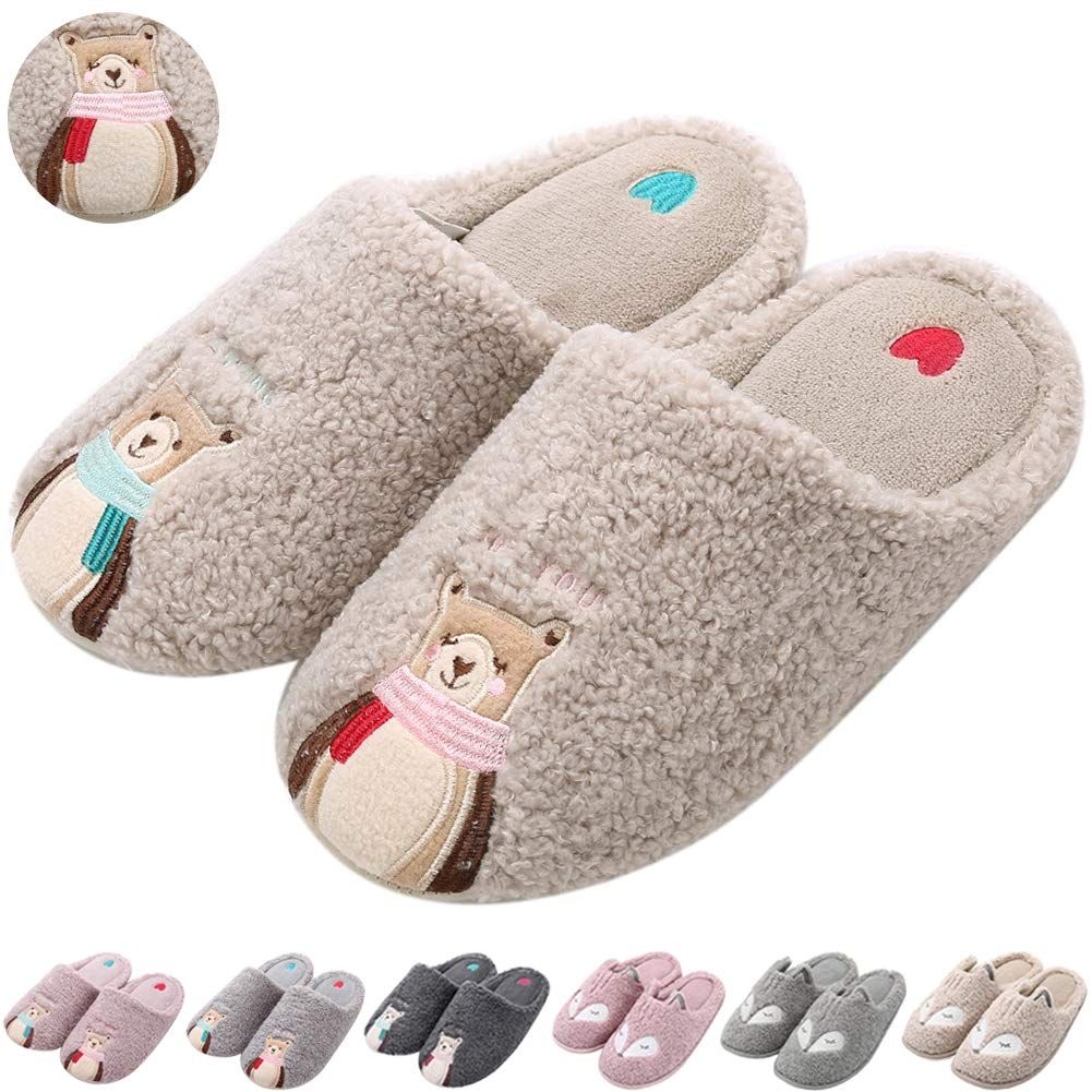 f7eddacea432 Womens Cute Bear Animal Slippers Soft Fleece Plush Home Slippers Warm Memory  Foam Cotton Indoor House Slippers
