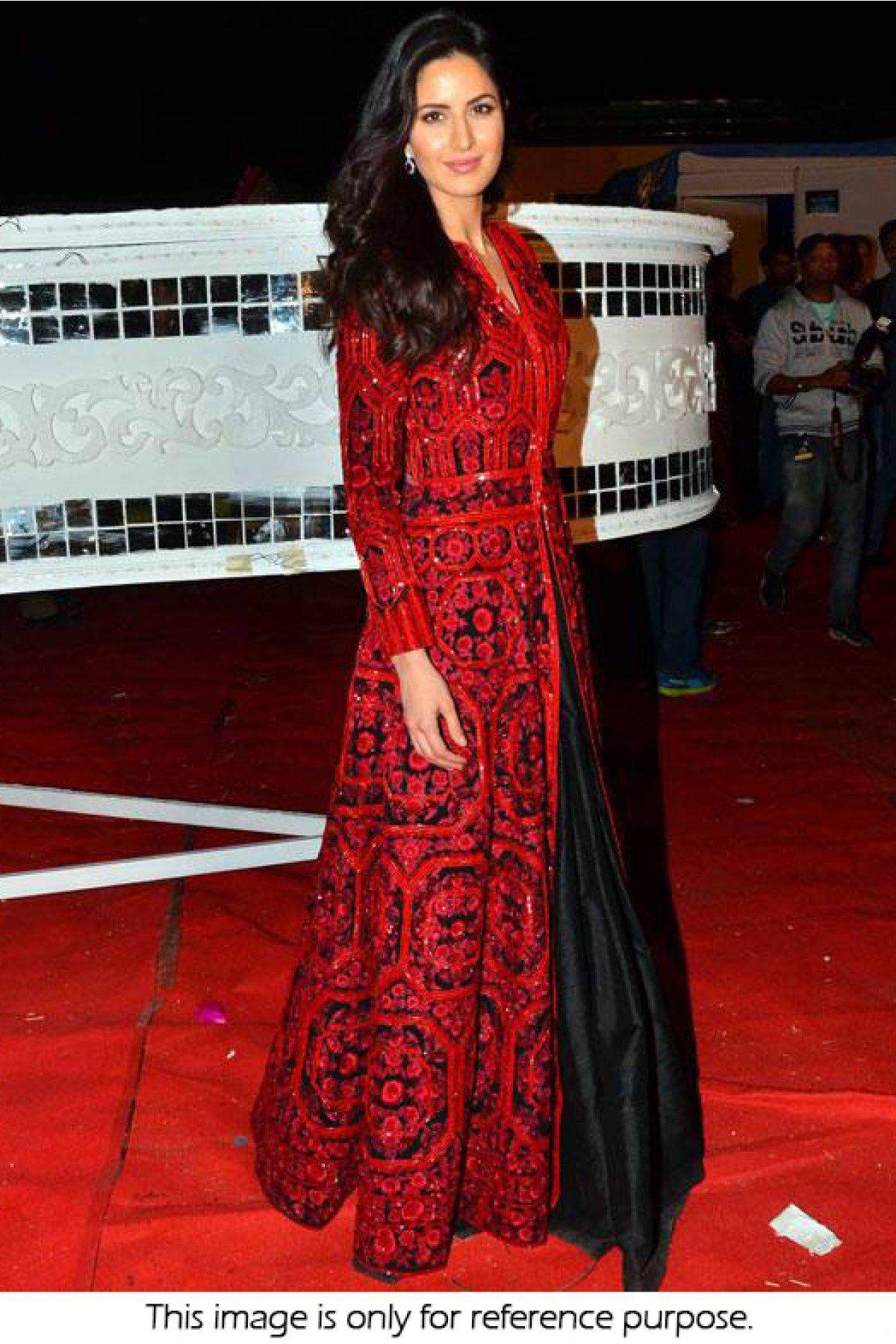 Bollywood Style Katrina Kaif Bhagalpuri Silk Gown In Red And Black Colour Nc3030 Model Pakaian Muslim Model Baju Wanita Pakaian Pakistan