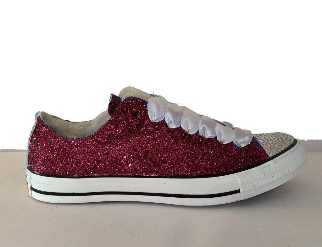 d2ec350b9c5e83 Womens Glitter   Crystals Converse All Stars Burgundy Maroon Dark Red  wedding bride bridal prom gift