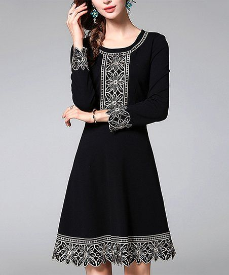 85dea0f44aa9 Vicky and Lucas Black Floral Embroidery A-Line Dress | zulily ...