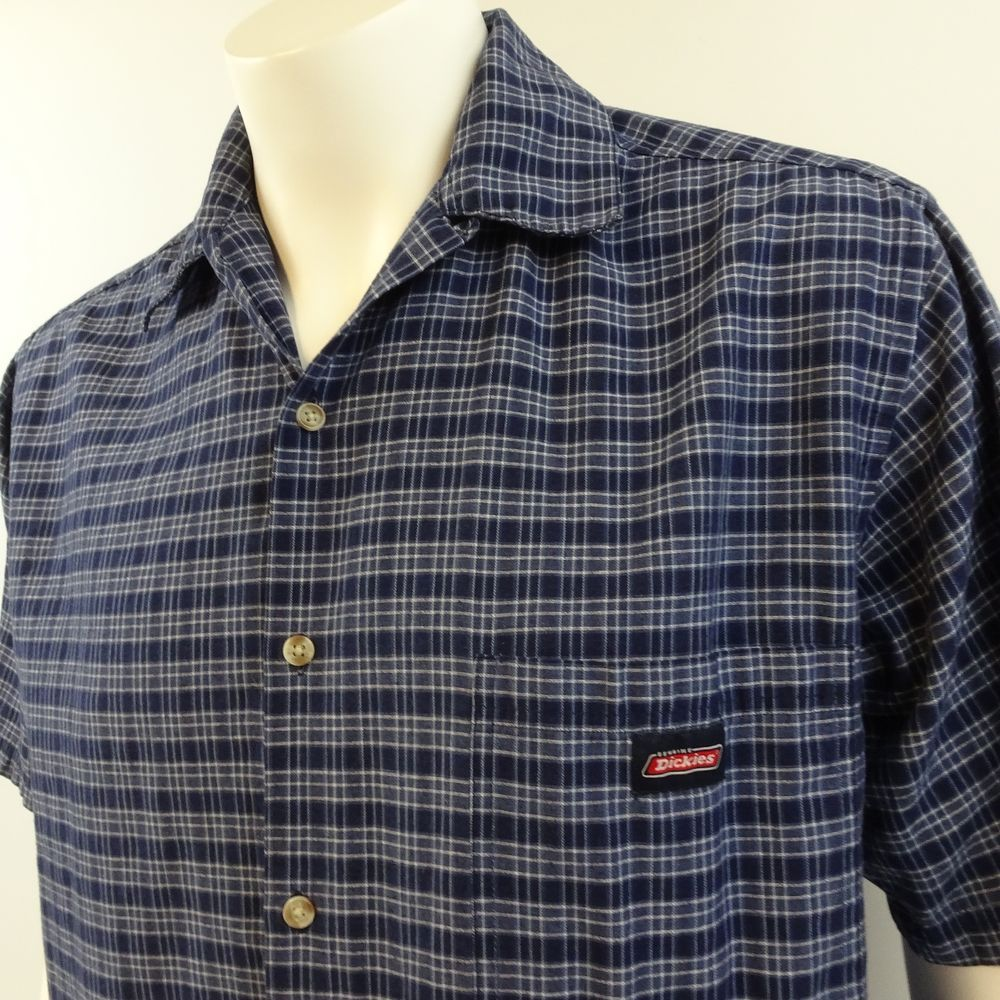 8d561b5601b Dickies Mens Large Blue Plaid Short Sleeve Button Up Casual Work Shirt   Dickies  ButtonFront
