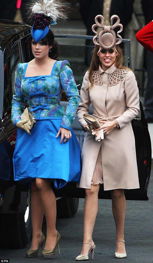 35dfbd00bd9e53 Eugenie (in a Vivienne Westwood dress and Philip Treacy hat) and Beatrice  (in a Treacy fascinator) at the Royal Wedding in 2011
