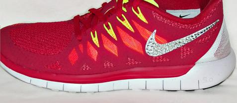Glitter Shoes - Nike Free 5.0 2014 Running Shoes - in RedWhiteLaser  CrimsonAtomic Mango with Swarovski