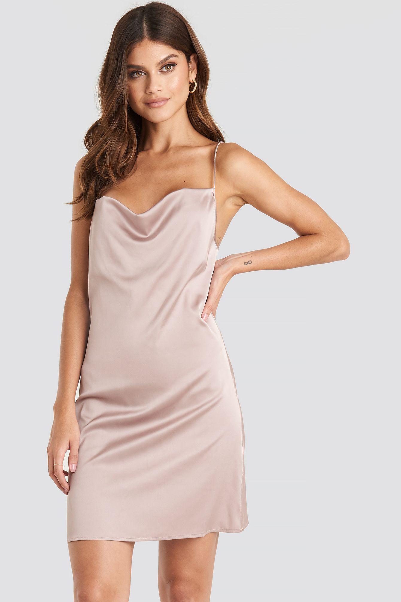 Satin Waterfall Mini Dress Rosa in 19  Minikleid, Modestil