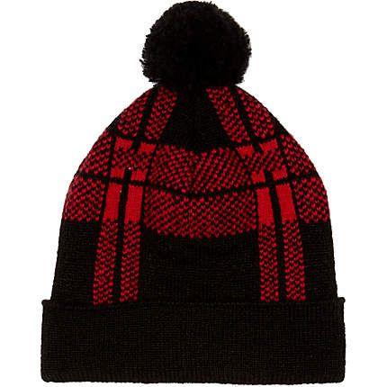 Red check bobble beanie hat - hats - accessories - men  c118bc52ecab