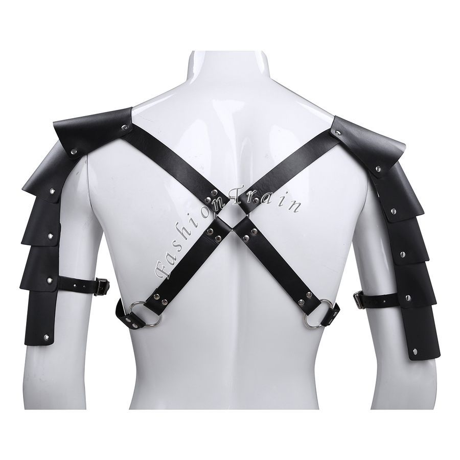 Men/'s Faux Leather Armor Body Chest Harness Underwear Clubwear Halloween Costume