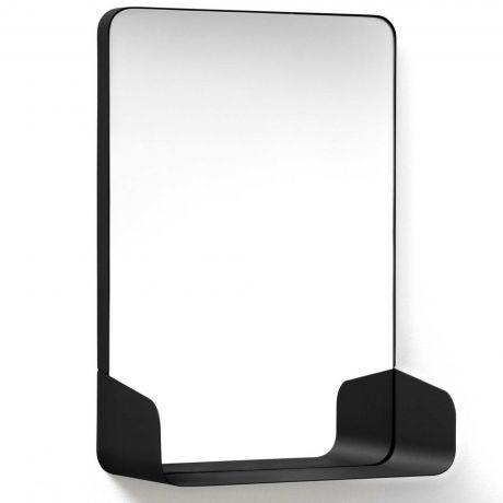 Authentics SHELF Spiegel mit Ablage 42,8 x 30,5cm, schwarz - badezimmerspiegel mit ablage