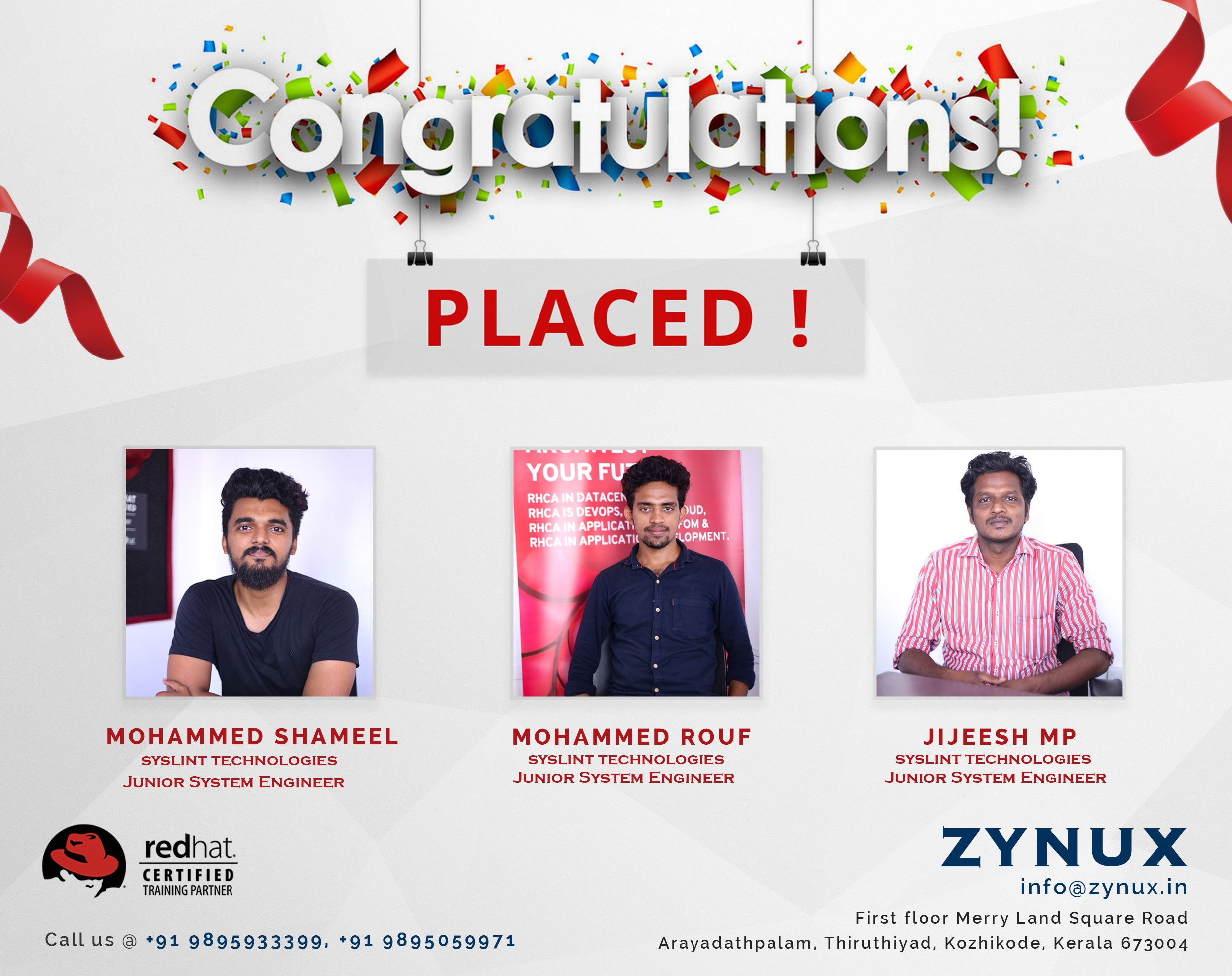 Hat Trick Placements Zynux Congratulations Wishing You All The Best Congratulations Kozhikode Train