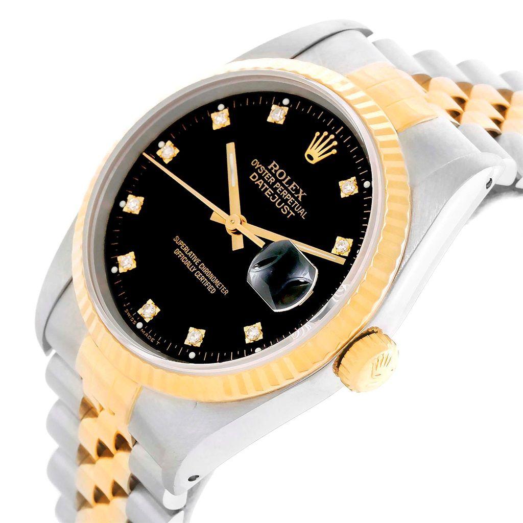 17396 Rolex Datejust Steel Yellow Gold Black Diamond Dial Unisex Watch 16233 Swisswatchexpo Rolex Unisex Watches Rolex Datejust
