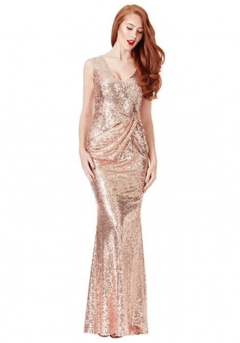 48662405 Goddiva V-Neck Sequin Maxi Dress with Bow Detail in Champagne ...