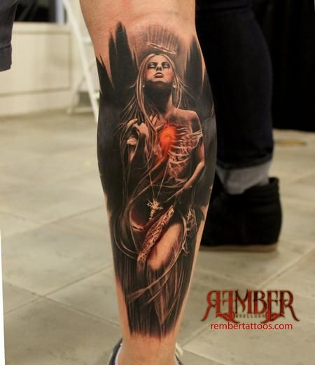 2cbdeaebe60c5 Rember, Dark Age Tattoo Studio - Dark Angel | Tattoo1 | Calf tattoo ...