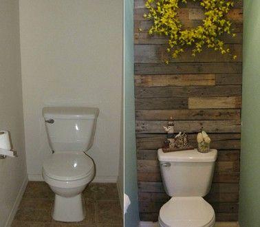Déco WC esprit récup avec mur bois et peinture verte Coins and Future - peindre un mur en bois