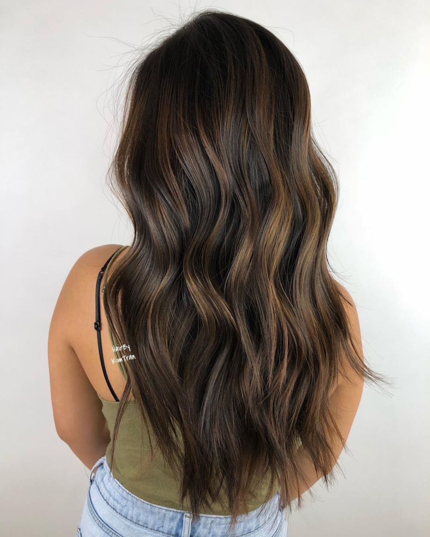 Long Dark Brown Hair With Golden Balayage Brown Blonde Hair Brown Hair With Highlights Chocolate Hair