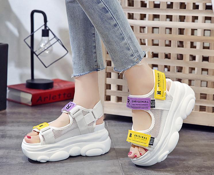 Stylish White Peep toe Wedge Sneaker Sandals Peep toe
