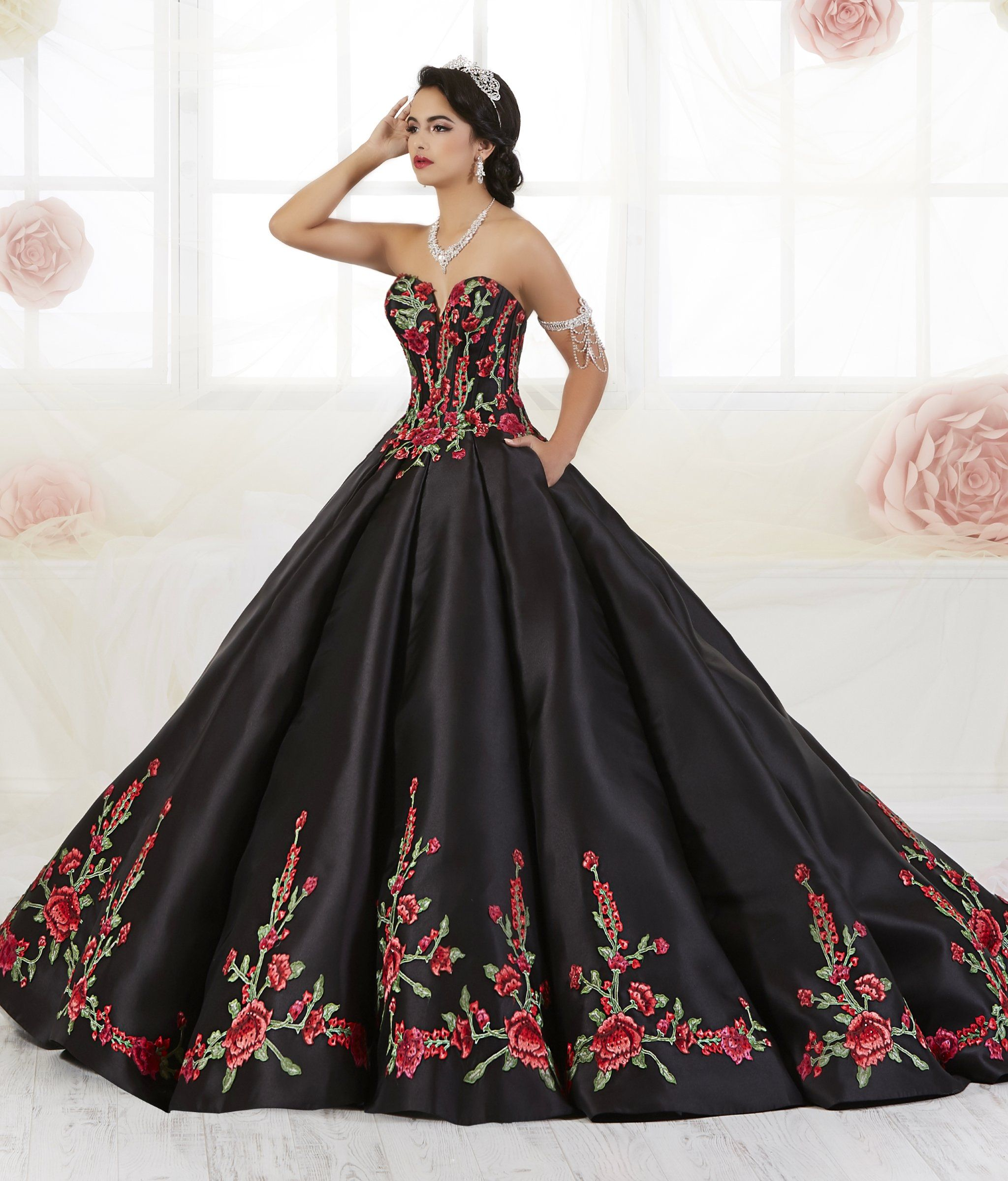87d1bab61ee Floral Embroidered Quinceanera Dress by House of Wu 26908 in 2019 ...