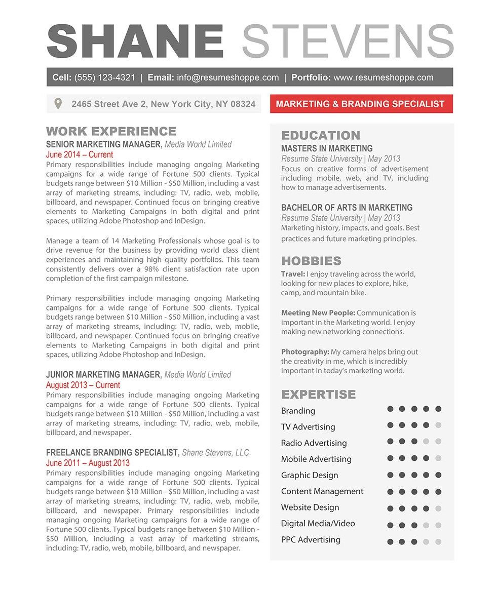 The Shane Resume Is An Exceptionally Creative Resume Template For Word That Can Easily Be Customized To Y Resume Template Word Resume Templates Resume Template
