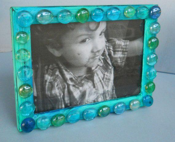 Beautiful Blue Mosaic Glass Bead Picture Frame by AldanaArt, $15.00