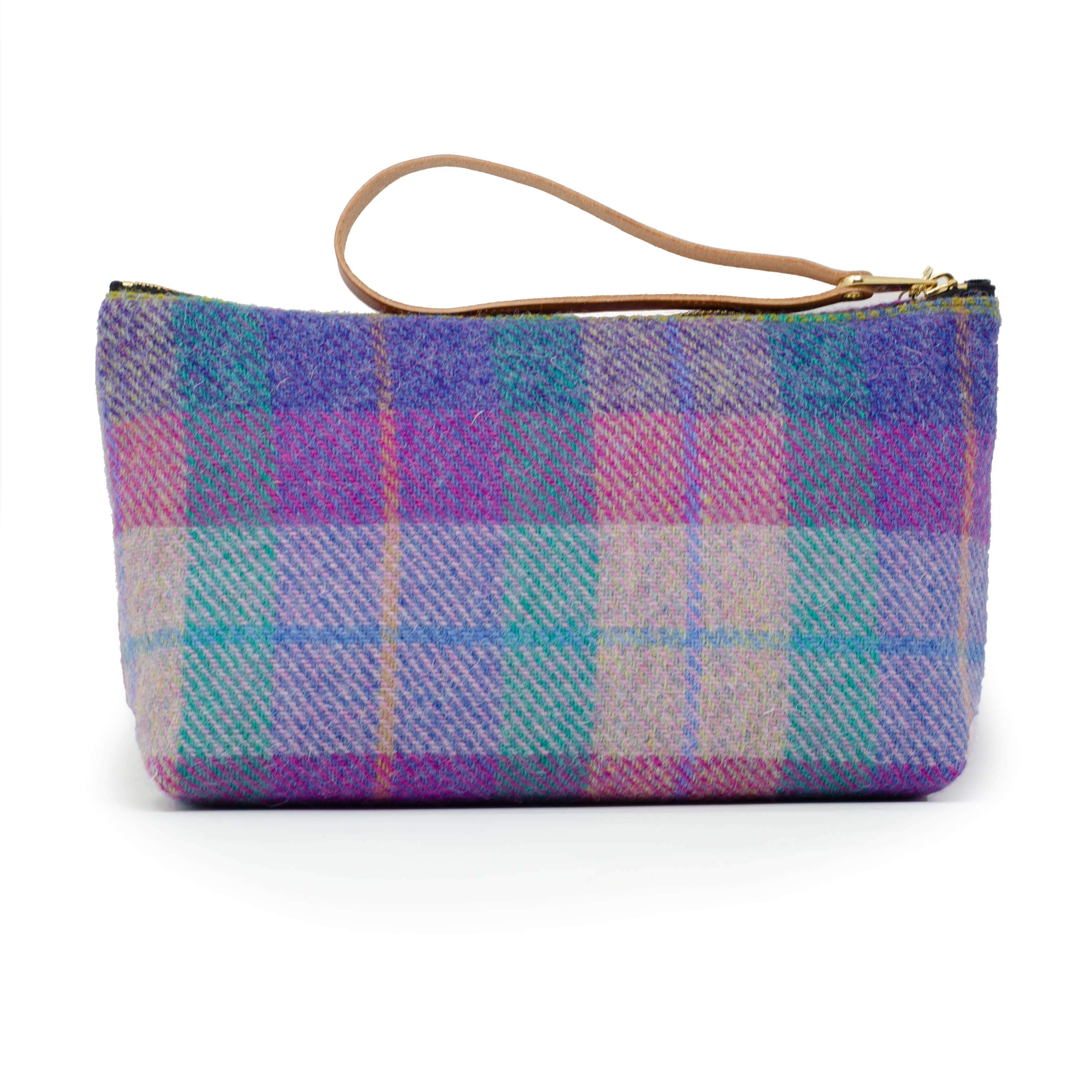 Make-up-Tasche – Harris Tweed® Pink & Purple Check